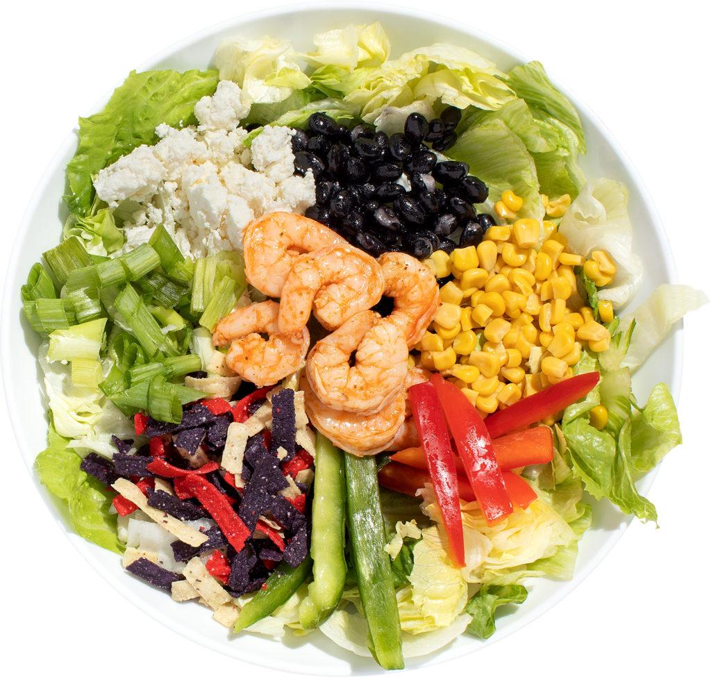 Shrimp, feta cheese, corn, and black beans salad