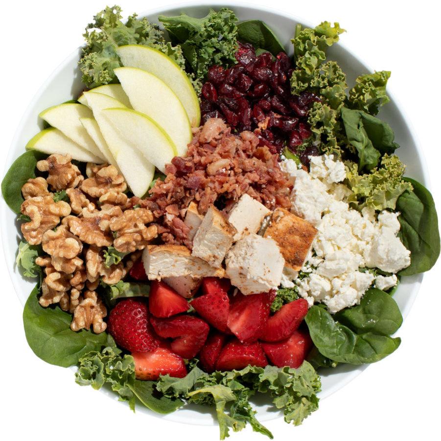 Chicken, apples, craisins, and walnuts salad