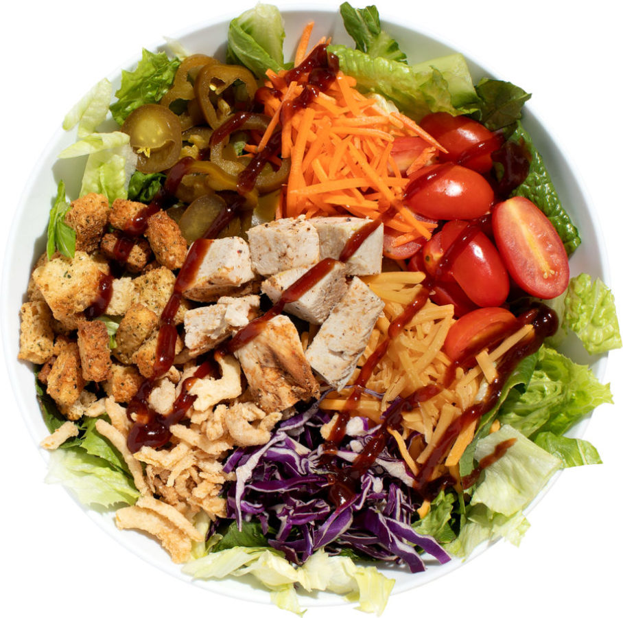 Chicken, cheddar and diced avocado salad