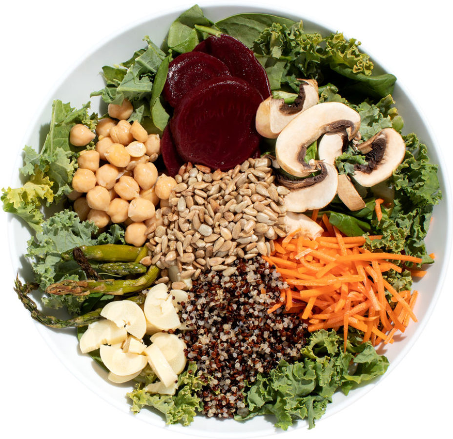 Salad with quinoa, beets, and mushrooms